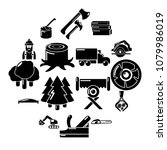 timber industry icons set.... | Shutterstock .eps vector #1079986019