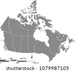canada map vector outline with... | Shutterstock .eps vector #1079987105