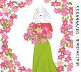 romantic graceful cute girl... | Shutterstock .eps vector #1079989355