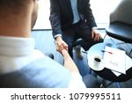 business people shaking hands ... | Shutterstock . vector #1079995511