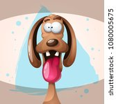 funny  cute  crazy dog... | Shutterstock .eps vector #1080005675