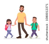 dad goes with the kids to... | Shutterstock .eps vector #1080012371