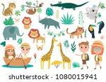 set of african animals  plants... | Shutterstock .eps vector #1080015941