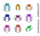 set of different gift boxes... | Shutterstock .eps vector #1080016187
