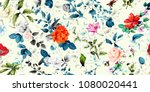 Stock vector wide vintage seamless background pattern rose magnolia peony wild flowers with leaf on blue and 1080020441