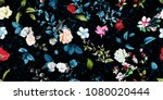 Stock vector wide vintage seamless background pattern rose magnolia peony wild flowers with leaf on dark 1080020444