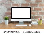 workspace with computer with... | Shutterstock . vector #1080022331