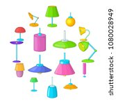 lamp icons set. cartoon... | Shutterstock .eps vector #1080028949