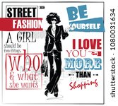 fashion girl in sketch style.... | Shutterstock .eps vector #1080031634