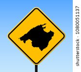 majorca map road sign. square... | Shutterstock .eps vector #1080051137