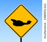 santa cruz island map road sign.... | Shutterstock .eps vector #1080051161