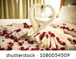 two swans made from towels are... | Shutterstock . vector #1080054509