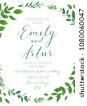 wedding floral invitation ... | Shutterstock .eps vector #1080060047