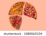 four different pieces of pizza... | Shutterstock . vector #1080065234