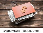symbol of a wooden dollar on a...   Shutterstock . vector #1080072281