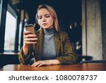 concentrated serious... | Shutterstock . vector #1080078737