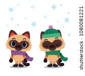 vector cat characters wearing... | Shutterstock .eps vector #1080081221