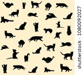 set of black cat silhouettes on ... | Shutterstock .eps vector #1080092027