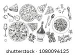 pizza  chianti wine  mozzarella ... | Shutterstock .eps vector #1080096125