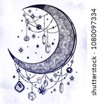ornate crescent boho moon with...   Shutterstock .eps vector #1080097334