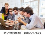 team with laptop computer... | Shutterstock . vector #1080097691