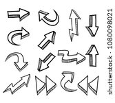 hand drawn doodle arrows icon... | Shutterstock .eps vector #1080098021