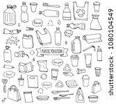 hand drawn doodle stop plastic... | Shutterstock .eps vector #1080104549