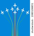 airplane flying formation in... | Shutterstock .eps vector #1080108851