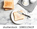 plate with toasted bread and...   Shutterstock . vector #1080115619