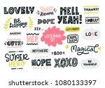hand written short phrases.... | Shutterstock .eps vector #1080133397