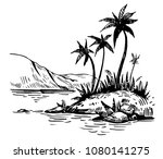 tropical landscape with palm... | Shutterstock .eps vector #1080141275