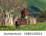 man in a cap and red checkered... | Shutterstock . vector #1080143021
