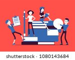 students with giant books.... | Shutterstock .eps vector #1080143684