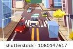 city street and ambulance car... | Shutterstock .eps vector #1080147617