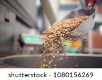 Small photo of Photo of coffee beans poured from iron scoop
