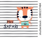 cute cartoon tiger on striped... | Shutterstock .eps vector #1080157484