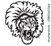 lion angry face tattoo. vector... | Shutterstock .eps vector #1080161564