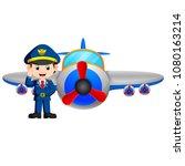 vector illustration of pilot... | Shutterstock .eps vector #1080163214