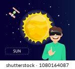 man wearing virtual reality...   Shutterstock .eps vector #1080164087