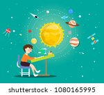 boy reading a book about...   Shutterstock .eps vector #1080165995