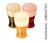 set of beer in glass isometric... | Shutterstock .eps vector #1080167357