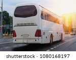 white tourist bus goes on the... | Shutterstock . vector #1080168197