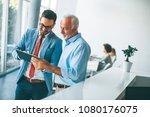 portrait of businessmen with... | Shutterstock . vector #1080176075
