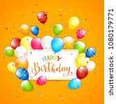 text happy birthday on orange... | Shutterstock .eps vector #1080179771