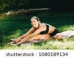 beautiful fitness girl... | Shutterstock . vector #1080189134