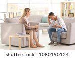 young female psychologist... | Shutterstock . vector #1080190124