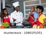 african american chef teaching...   Shutterstock . vector #1080191051