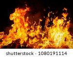 Big Fire Flames On Black...