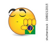 proud brazilian isolated emoji... | Shutterstock .eps vector #1080212015