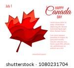 happy canada day vector holiday ... | Shutterstock .eps vector #1080231704